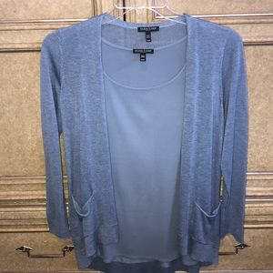 EILEEN FISHER BLUE CARDIGAN  & BLOUSE SET